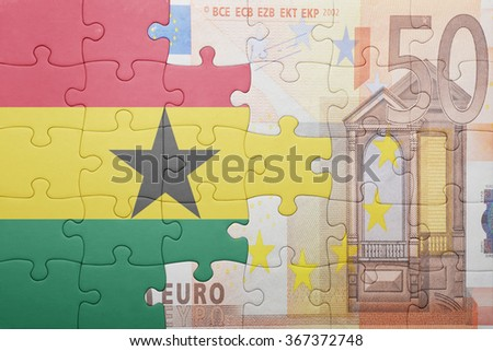 puzzle with the national flag of ghana and euro banknote . concept - stock photo