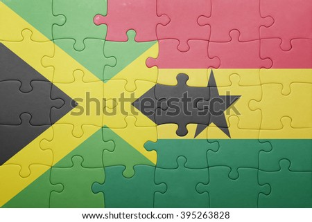 puzzle with the national flag of ghana and jamaica . concept - stock photo