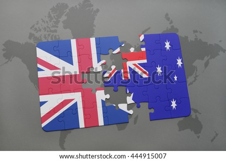 puzzle with the national flag of great britain and australia on a world map background.