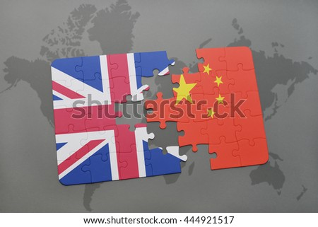 puzzle with the national flag of great britain and china on a world map background.