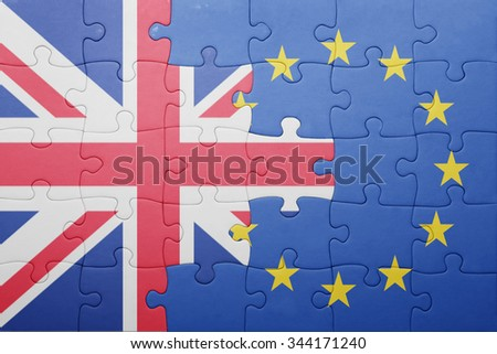 puzzle with the national flag of great britain and european union . concept - stock photo