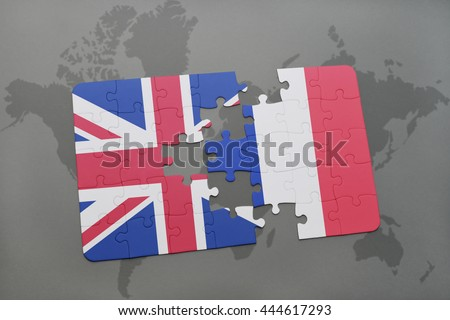 puzzle with the national flag of great britain and france on a world map background