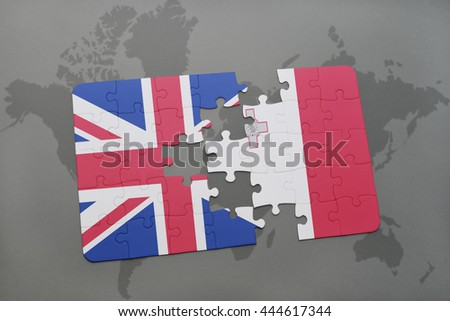puzzle with the national flag of great britain and malta on a world map background - stock photo
