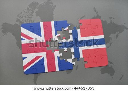 puzzle with the national flag of great britain and norway on a world map background