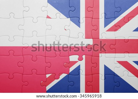 puzzle with the national flag of great britain and poland . concept - stock photo