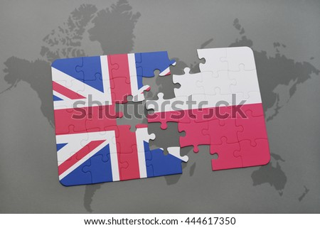 puzzle with the national flag of great britain and poland on a world map background