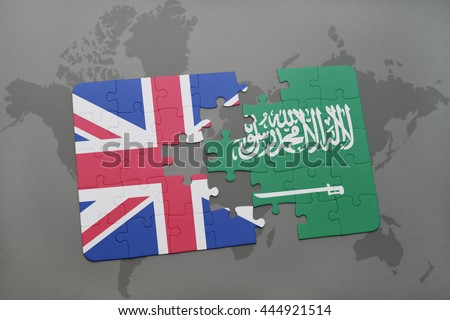 puzzle with the national flag of great britain and saudi arabia on a world map background.