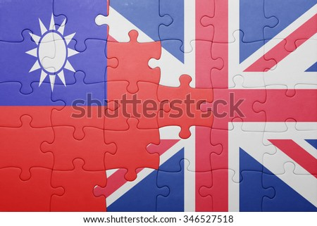 puzzle with the national flag of great britain and taiwan . concept - stock photo
