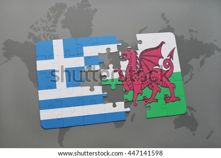 puzzle with the national flag of greece and wales on a world map background. 3D illustration - stock photo