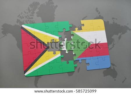 Puzzle National Flag Guyana Comoros On Stock Illustration 585725099