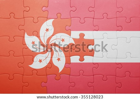 puzzle with the national flag of hong kong and austria . concept