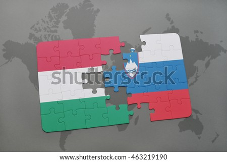 puzzle with the national flag of hungary and slovenia on a world map background. 3D illustration