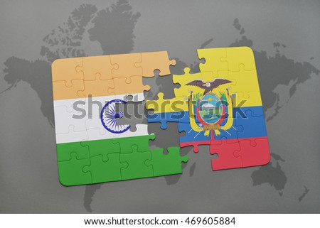 puzzle with the national flag of india and ecuador on a world map background. 3D illustration