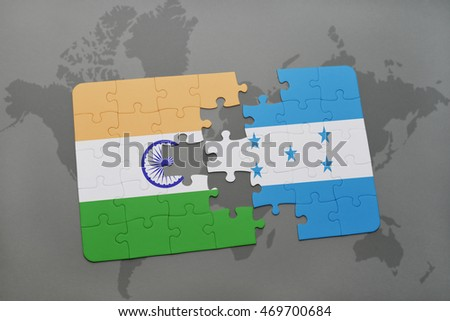 puzzle with the national flag of india and honduras on a world map background. 3D illustration