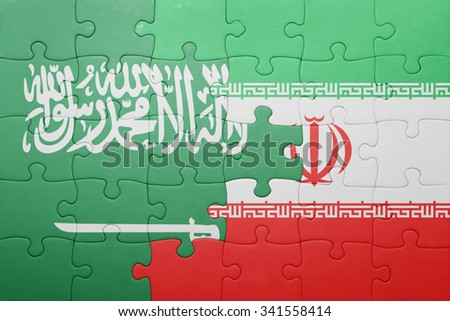 puzzle with the national flag of iran and  saudi arabia. concept - stock photo
