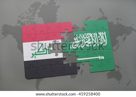 puzzle with the national flag of iraq and saudi arabia on a world map background. 3D illustration