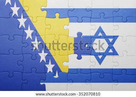 puzzle with the national flag of israel and bosnia and herzegovina . concept