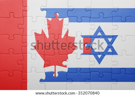 puzzle with the national flag of israel and canada . concept