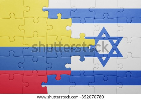 puzzle with the national flag of israel and colombia . concept