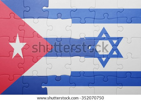 puzzle with the national flag of israel and cuba . concept