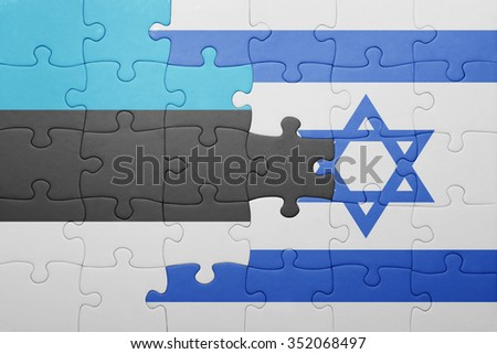 puzzle with the national flag of israel and estonia . concept