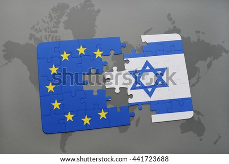 puzzle with the national flag of israel and european union on a world map - stock photo