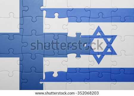 puzzle with the national flag of israel and finland . concept