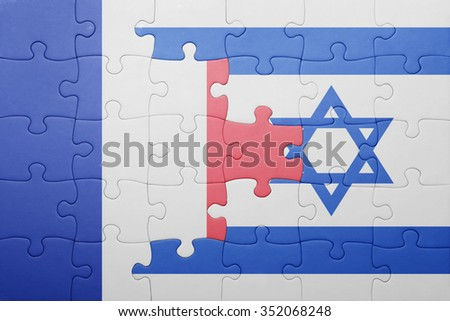 puzzle with the national flag of israel and france . concept