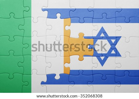 puzzle with the national flag of israel and ireland . concept