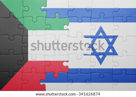 puzzle with the national flag of israel and  kuwait. concept