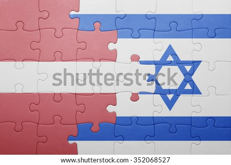 puzzle with the national flag of israel and latvia . concept
