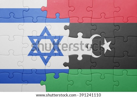 puzzle with the national flag of israel and libya . concept