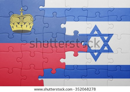 puzzle with the national flag of israel and liechtenstein . concept