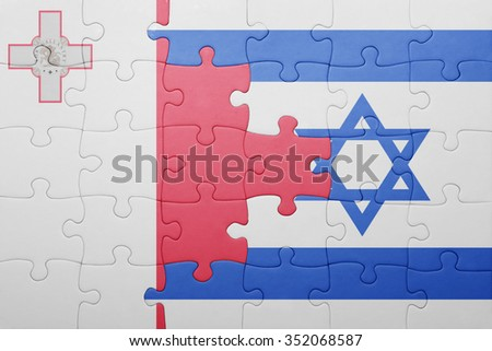 puzzle with the national flag of israel and malta . concept