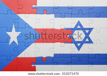 puzzle with the national flag of israel and puerto rico . concept