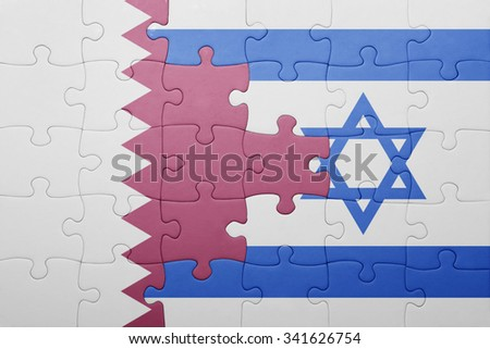 puzzle with the national flag of israel and qatar . concept