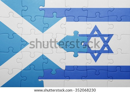 puzzle with the national flag of israel and scotland . concept