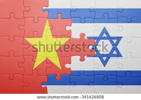 puzzle with the national flag of israel and vietnam . concept