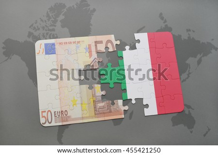 puzzle with the national flag of italy and euro banknote on a world map background. 3D illustration - stock photo