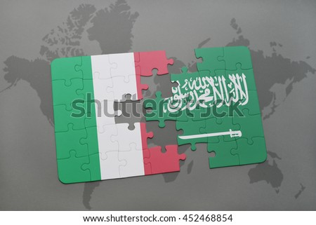 puzzle with the national flag of italy and saudi arabia on a world map background. 3D illustration