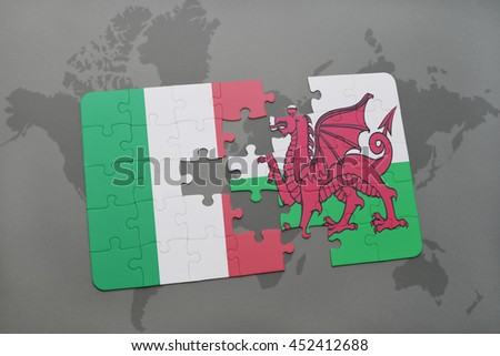 puzzle with the national flag of italy and wales on a world map background. 3D illustration - stock photo