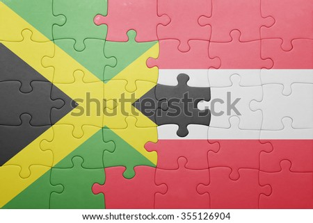 puzzle with the national flag of jamaica and austria . concept - stock photo