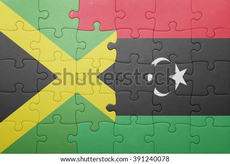 puzzle with the national flag of jamaica and libya . concept - stock photo