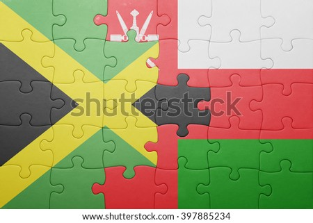 puzzle with the national flag of jamaica and oman . concept - stock photo