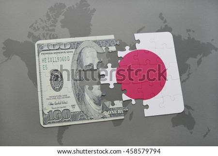 puzzle with the national flag of japan and dollar banknote on a world map background. 3D illustration