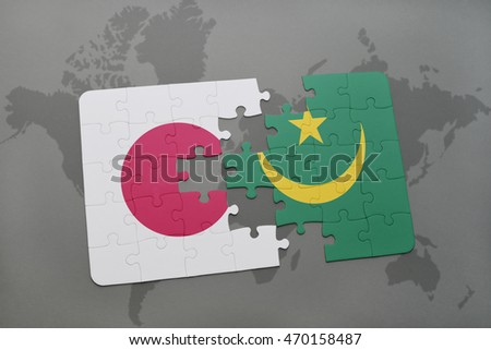 puzzle with the national flag of japan and mauritania on a world map background. 3D illustration