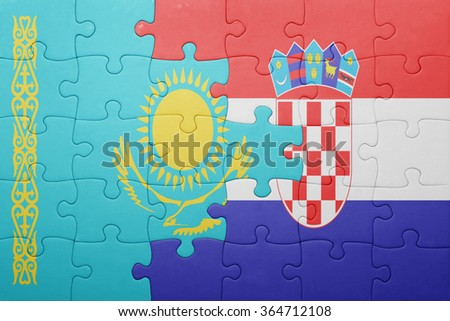 puzzle with the national flag of kazakhstan and croatia . concept