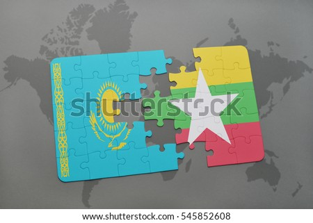 puzzle with the national flag of kazakhstan and myanmar on a world map background. 3D illustration