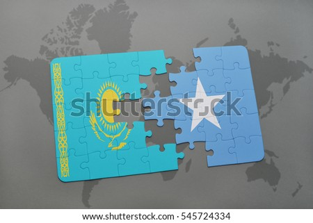 puzzle with the national flag of kazakhstan and somalia on a world map background. 3D illustration
