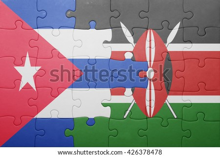 puzzle with the national flag of kenya and cuba. concept - stock photo